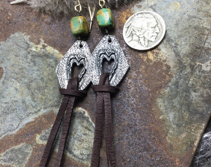 Be still my heart earrings by Weathered Soul with a little turquoise and fringe bronze ear wires, boho western, cowgirl chic jewelry