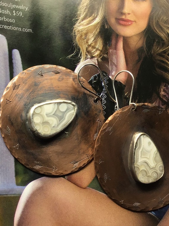 Featured in this upcoming Cowgirl magazine, copper medallion earrings with ivory toned crazy lace agate, heavier earrings, large rounds