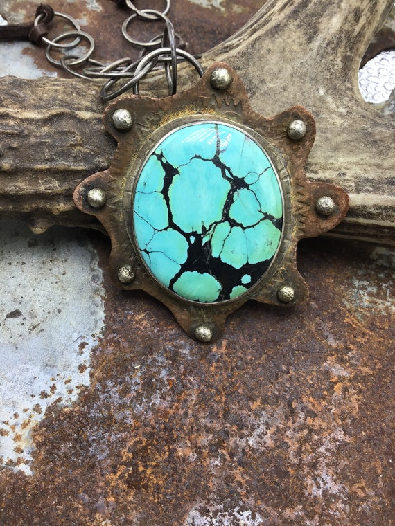 The beast of turquoise necklace by Weathered Soul jewelry, huge matrix incredible color variations, hand made sterling link and leather,USA