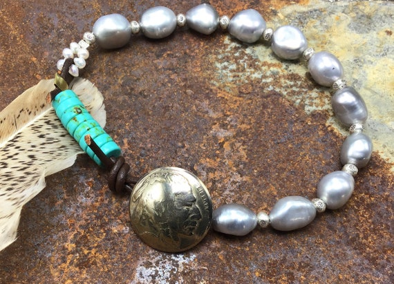 Gorgeous larger wrist silver pearl vintage nickel bracelet by Weathered Soul jewelry,touched by turquoise and leather,Sundance style,artisan