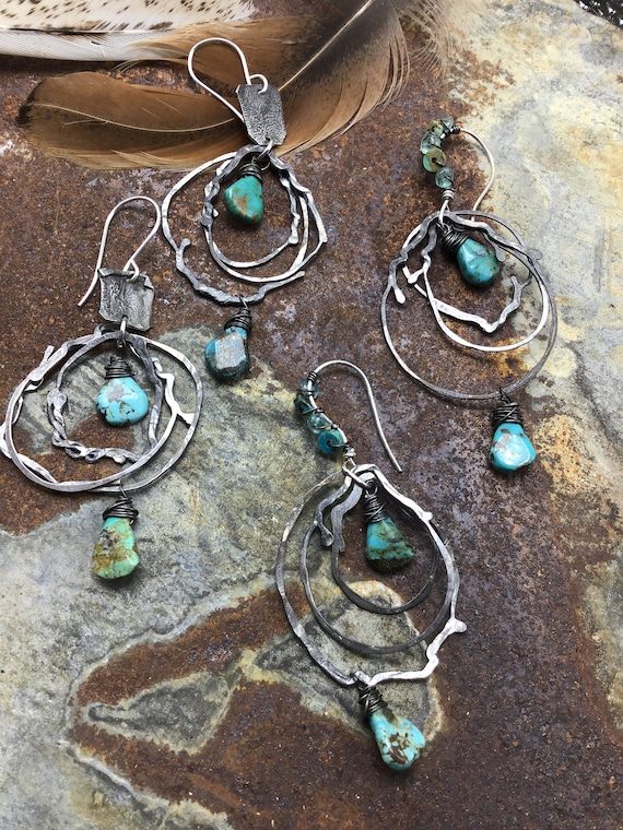 Crazy fun nest hoops with turquoise by Weathered Soul jewelry, artisan hoops, rustic hoops,rustic Cowgirl, cowgirl fashion, unique design