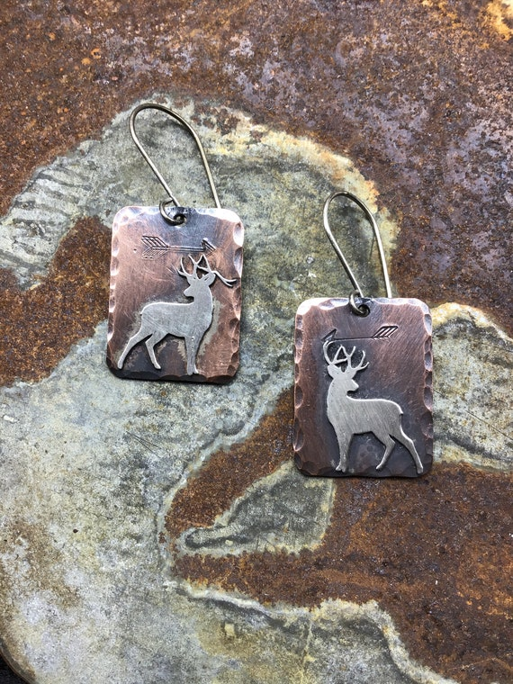 Silent Buck earrings by Weathered Soul jewelry, rustic copper and sterling earrings,arrows embossed.sterling ear wires, USA crafted