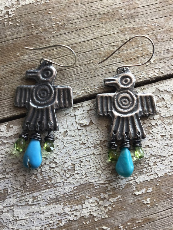 Thunderbird earrings by Weathered Soul,Native American,artisan,bird,bird lover,Southwest,cowgirl,turquoise,citrine