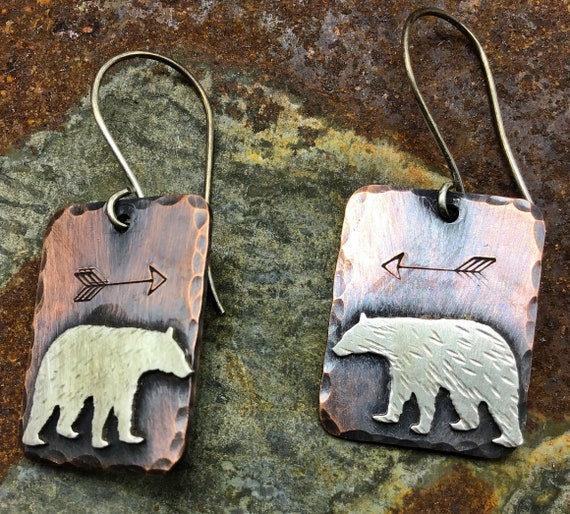 Walking Bear earrings by Weathered Soul jewelry, rustic copper and sterling earrings,arrows embossed.sterling ear wires, USA crafted