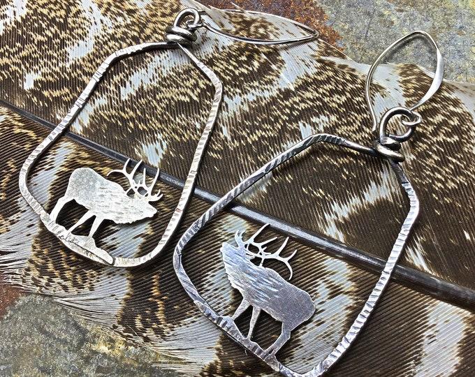 Definitely detailed sterling bugling elk hoops by Weathered Soul, elk lover, outdoor enthusiast, nature inspired jewelry