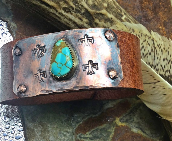 Narrow Thunderbird Turquoise cuff by Weathered Soul,Nevada 8 turquoise set in sterling on rustic copper and distressed leather, nickel snap