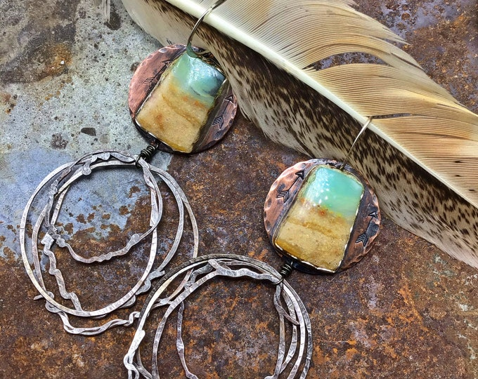 Peruvian Opal nest earrings by Weathered Soul,,artisan jewelry,cowgirl couture,western,artistic chic,bohowestern,western fashion