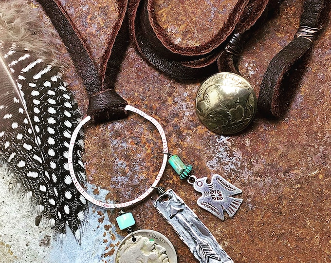 Made to order charm necklace with leather large sterling hammered hoop with vintage buffalo nickel and turquoise drops in cowgirl magazine!
