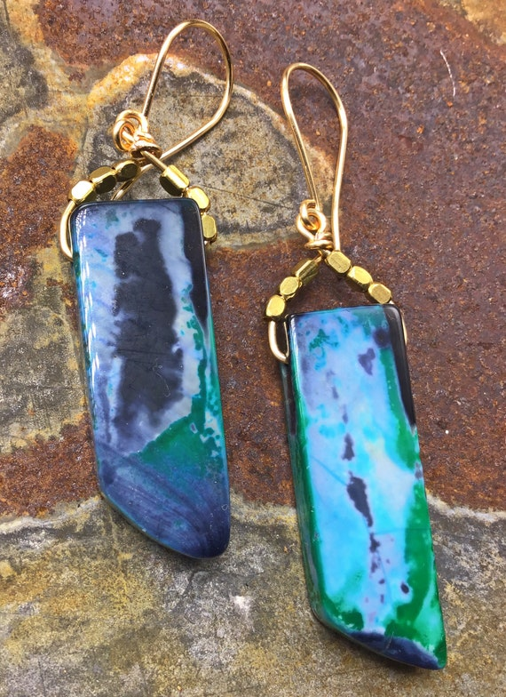 Blue agate simplicity earrings by Weathered Soul jewelry, bronze sets these beauties off, urban chic, minimalist design