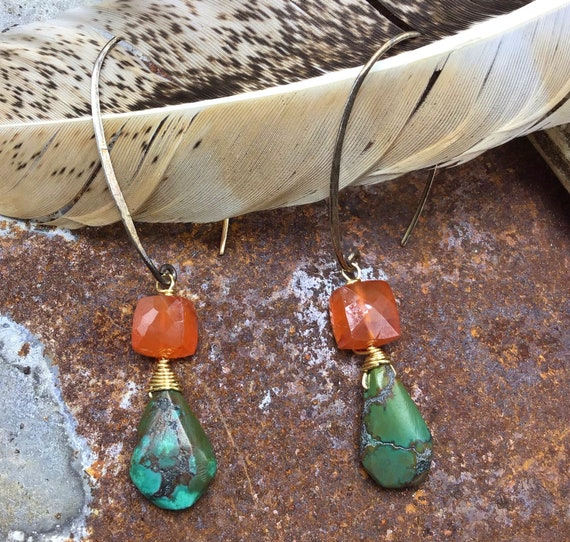 Long ear wire rustic teardrop turquoise and carnelian make these a bit of cowgirl with an urban flair! Artisan crafted by Weathered Soul