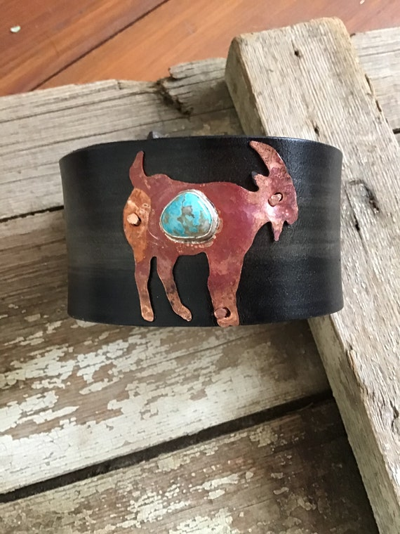 Goat cuff,artisan on leather with turquoise stone distressed,billy goat,goat lover,mountain goat, Weathered Sou