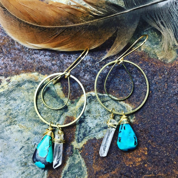 Sweet geometric boho hoops with turquoise and raw quartz, done in bronze, urban chic, cowgirl, artisan hoops. Weathered Soul