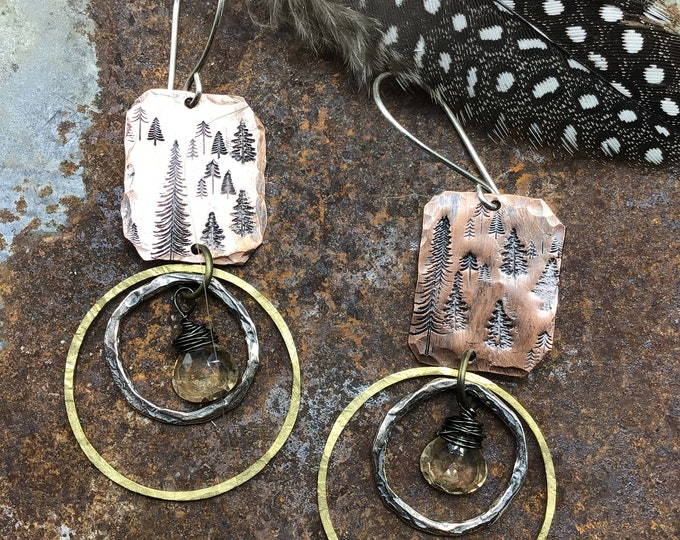 Double hoop forest earrings by Weathered soul, mixed metals, citrine, urban chic,artisan hoops