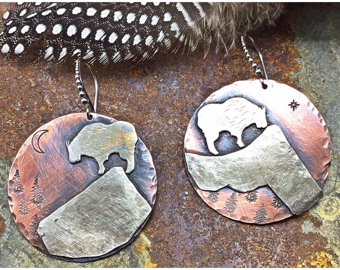 Mountain goat earrings by Weathered Soul jewelry, outdoor lover, nature inspired