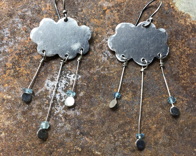 Little storm cloud earrings with tiny blue topaz, nature inspired, sterling ear wires