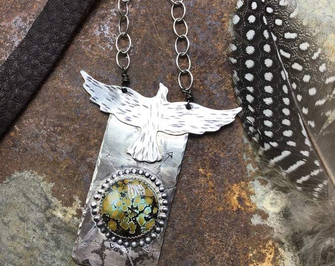 Rising bird necklace by Weathered Soul with giraffe turquoise, large nickel silver statement pendant with chain link and leather