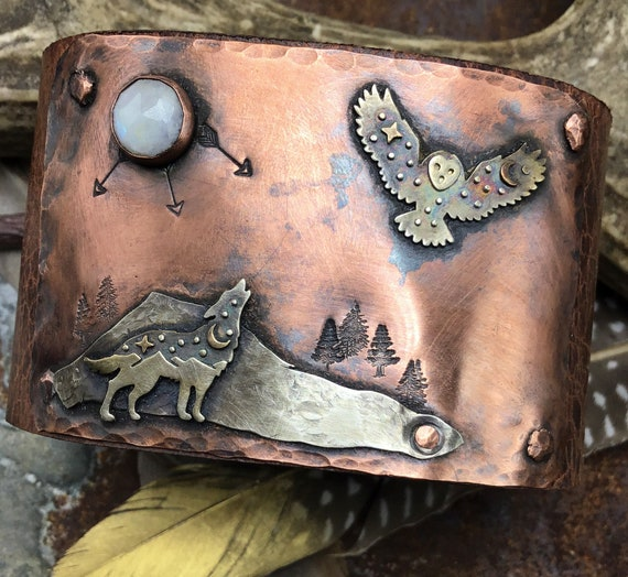 Wolf and the owl cuff by Weathered Soul, artisan leather wide statement cuff, outdoor enthusiast, unique OOAK