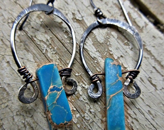 Rustic horseshoe magnesite earrings by Weathered Soul TM, USA artisan made, copper, sterling, rustic, cowgirl,