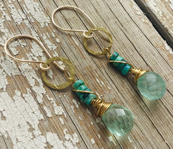 Summer break earrings by Weathered Soul,Chalcedony and turquoise make these the perfect combination for ease and style,artisan crafted, USA