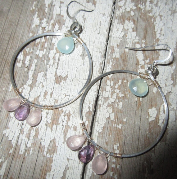 Large silver wire hoops with Chalcedony, pink topaz, and amethyst by Weathered Soul wire wrapped with bronze Valentines day, USA