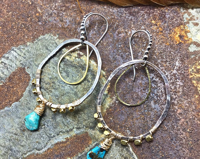Beautiful hammered sterling and bronze hoopss rustic style with turquoise,Sundance style,urban cowgirl,Weathered Soul,artisan hoops,USA