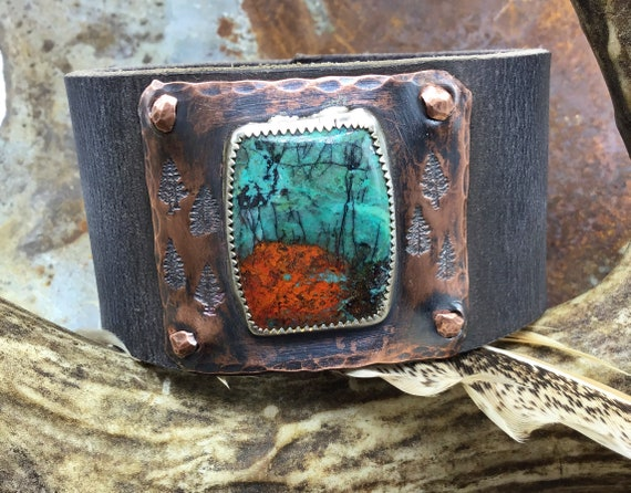 Contemporary style urban cuff Sonoma stone set in sterling on rustic tree embossed copper and smoke gray leather,artisan cuff,OOAK