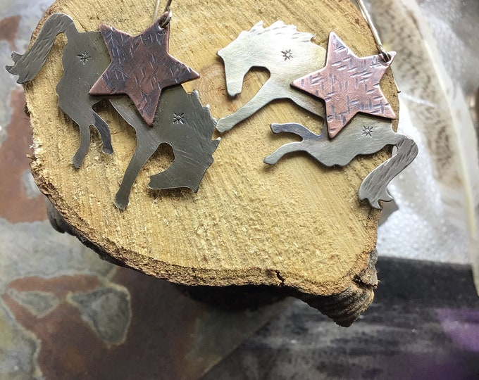 Let them buck earrings by Weathered soul, bronc large nickel silver and copper earrings with sterling ear wires,Weathered soul, cowgirl chic