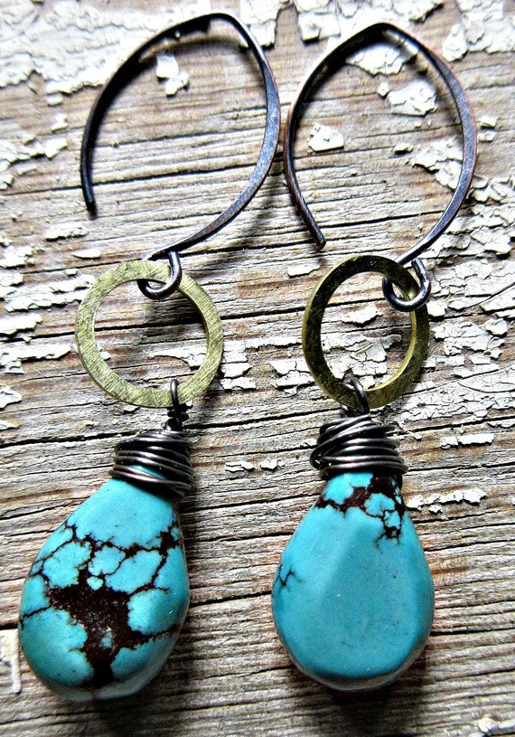 Tiny bronze hoops with gorgeous matrix turquoise teardrop stones, with oxidized copper ear wires, artisan made in USA, dainty, urban artisan