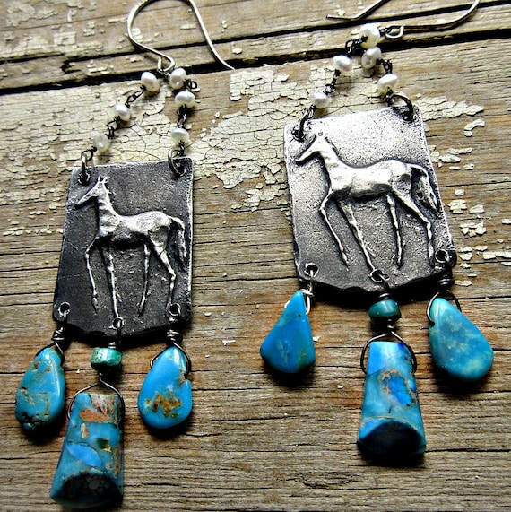 Primitive prancing horse earrings with imperial jasper, turquoise , and pearl, Cowgirl, boho, gypsy, artisan made, USA, Weathered Soul