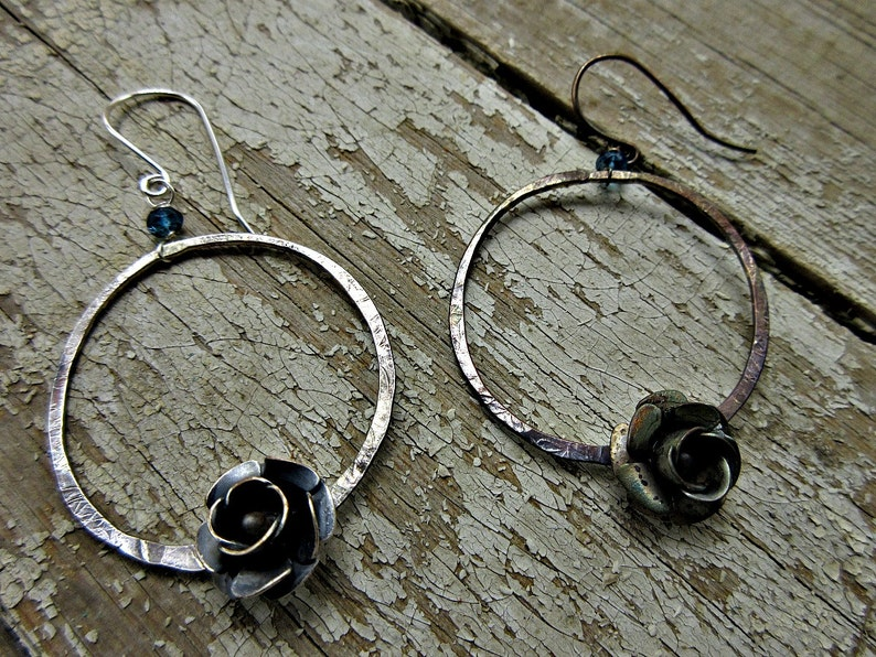 rustic sterling hoops USA oxidized with a sweet flower and blue topaz artisan cowgirl Prairie Rose earrings by Weathered Soul TM boho