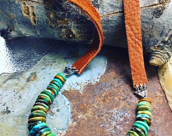 Simplicity at its finest, pure classic design,Arizona turquoise chestnut brown elk leather with sterling , long style for layering