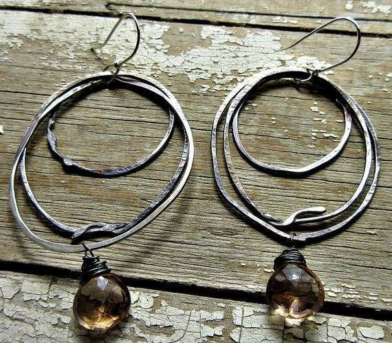 I call these my nest earrings because they remind me of bird nests, rustic silver hoops, peach quartz, large multiple hoop earrings artisan