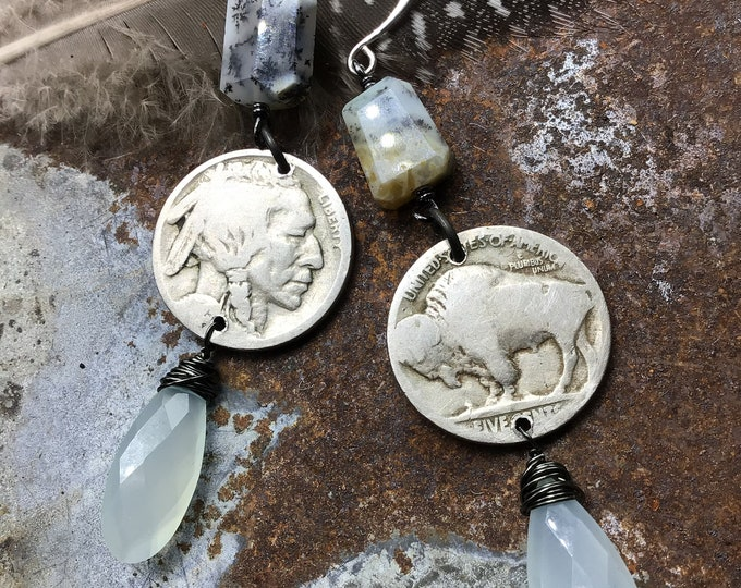 Long dangling vintage buffalo nickel earrings with pale blue chalcedony teardrops wire wrapped at bottom