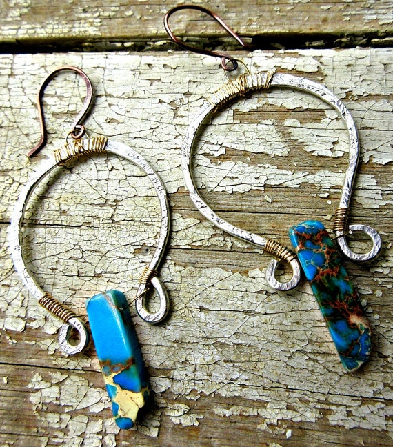 Horse shoe hoops by Weathered Soul TM, Magnesite, stone wire wrapped in bronze on sterling silver rustic hoops, urban, USA, high fashion