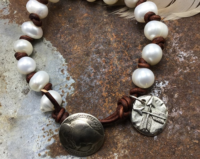 Leather and pearls larger wrist bracelet with vintage buffalo nickel button closure and crossed arrow charm dangle, cowgirl chic