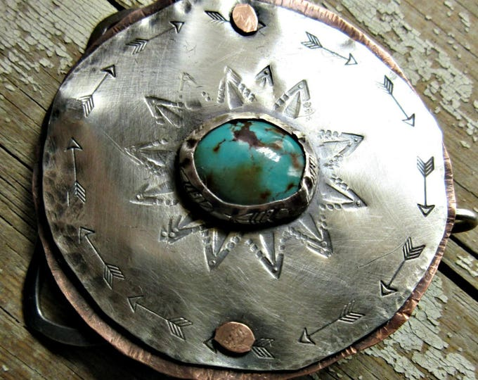 Rustic in nature women's buckle by Weathered Soul Jewelry, hand crafted, artisan, western, turquoise, copper and silver, boho,cowgirl, USA