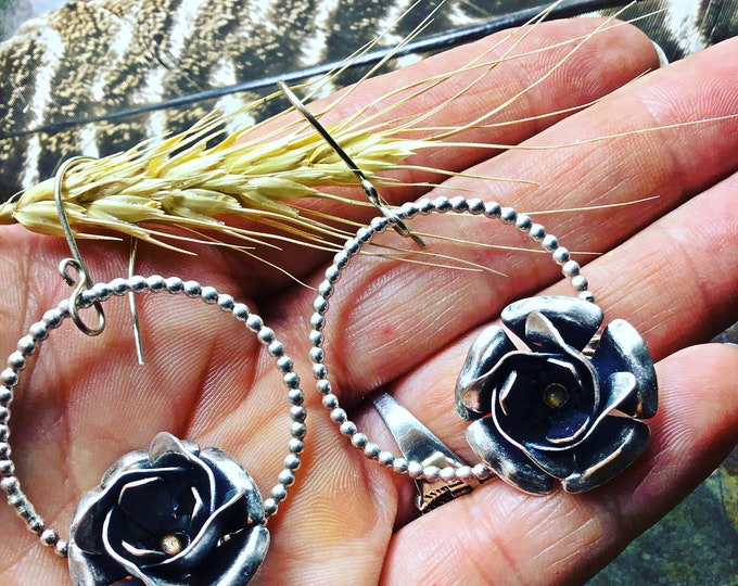 Large silver prairie rose earrings by Weathered Soul with western style ball hoop approximately one and a half inch hoops,artisan crafted