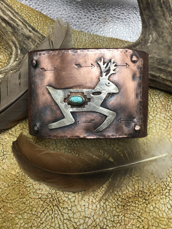 Running Buck leather,sterling,and copper cuff by Weathered Soul jewelry, artisan, unisex, western style, cowgirl, cowboy,turquoise,USA made