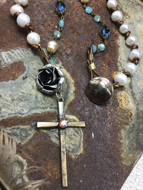 Sweet Savior necklace by Weathered Soul jewelry, vintage inspired cross, baroque pearls with leather and rosary chain, cowgirl, boho,USA