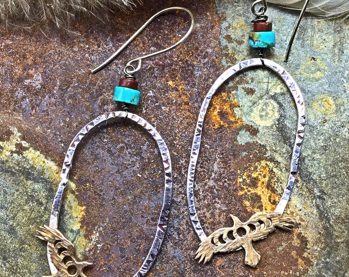Free bird bronze and sterling rustic oval hoops with turquoise and red jasper,weathered soul, bird lover