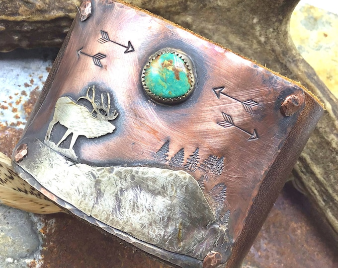 Wandering Elk cuff bracelet by Weathered Soul jewelry, made to order artisan ,bugling elk,outdoors,hunting,Royston turquoise,USA