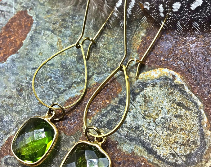 Threader hoops with green chalcedony and bronze