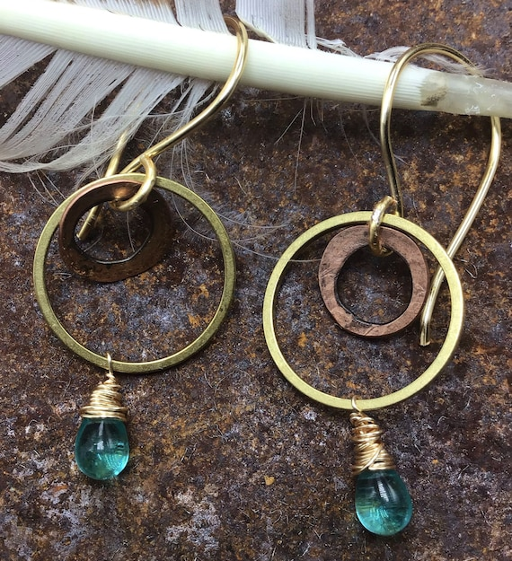 Double itty bitty hoops by Weathered Soul jewelry, bronze and hammered copper with bronze ear wires and turquoise glass wire wrapped stone