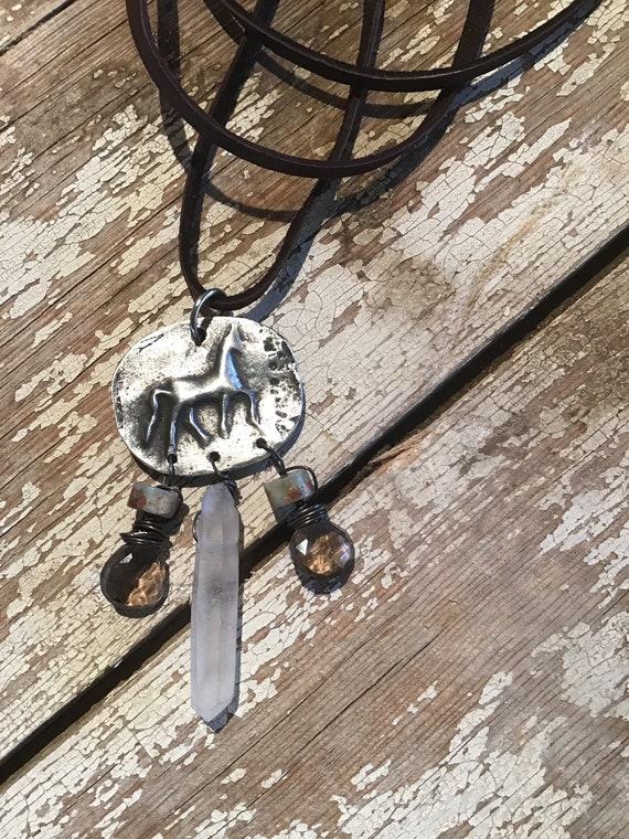 Prancing pony folk art silver horse, Inviciti, smokey quartz, peruvian opal, horse lover, equestrian, soft chocolate leather, USA