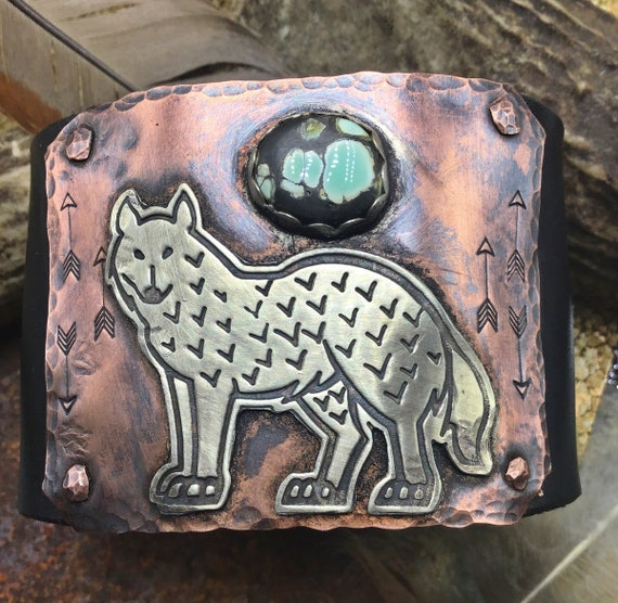 Lone standing wolf black leather and copper cuff by Weathered Soul jewelry, artisan, turquoise,nature lover, cowgirl,coyote cuff