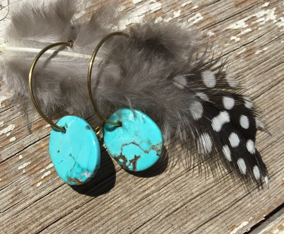 Dainty bronze through the ear hoops with paddle turquoise,super lightweight,turquoise varies,USA crafted,boho chic,cowgirl style