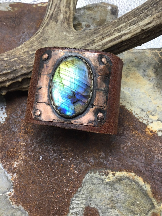 Made to order! Flashy Labradorite on sterling and copper cuff, vintage leather, statement cuff ,urban chic, artisan cuff, OOAK cuff, USA