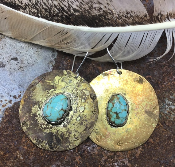 Large rustic patina bronze medallion with Nevada 8 turquoise by Weathered Soul jewelry, theseare so beautiful look like an old coin,USA