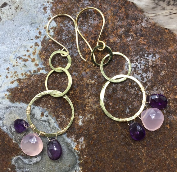 Triple gold filled hammered dainty hoop earrings with amethyst and pink quartz by Weathered Soul jewelry,artisan hoops,USA crafted