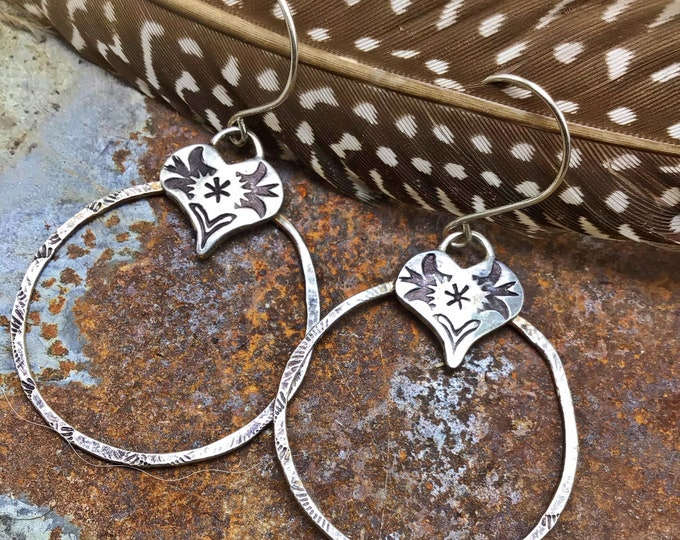 Be still my heart earrings by Weathered Soul, rustic embossed sterling medium sized hoops with a cowgirl flair,  western fashion